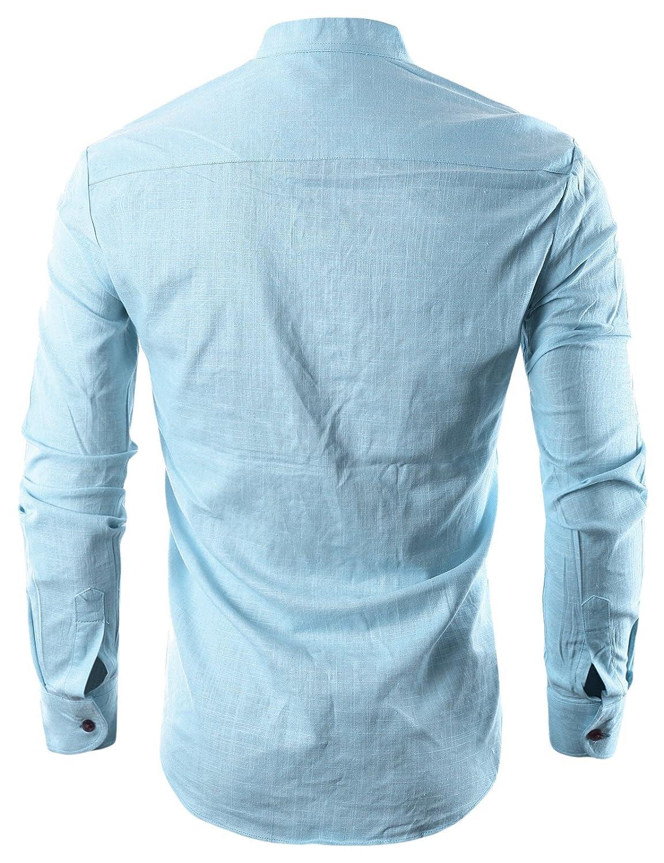 Ohoo Mens Slim Fit Ultra Light Cotton Linen Blend Long Sleeve ...