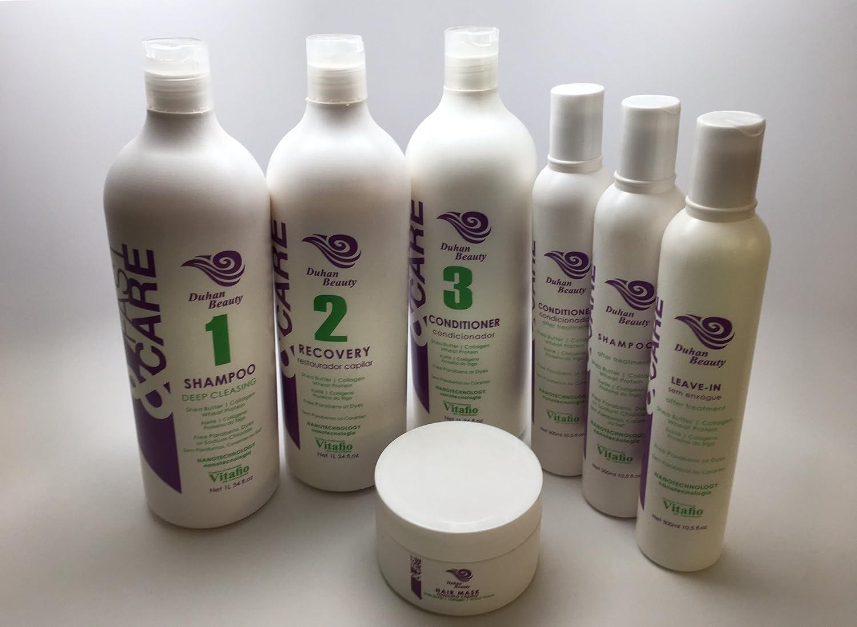 Amazon.com : Fast & Care - Brazilian Keratin Hair Treatment Kit - Formaldehyde Free - 3 Steps (Shampoo, Recovery, Conditioner) Professional Use - SEM FORMOL ...