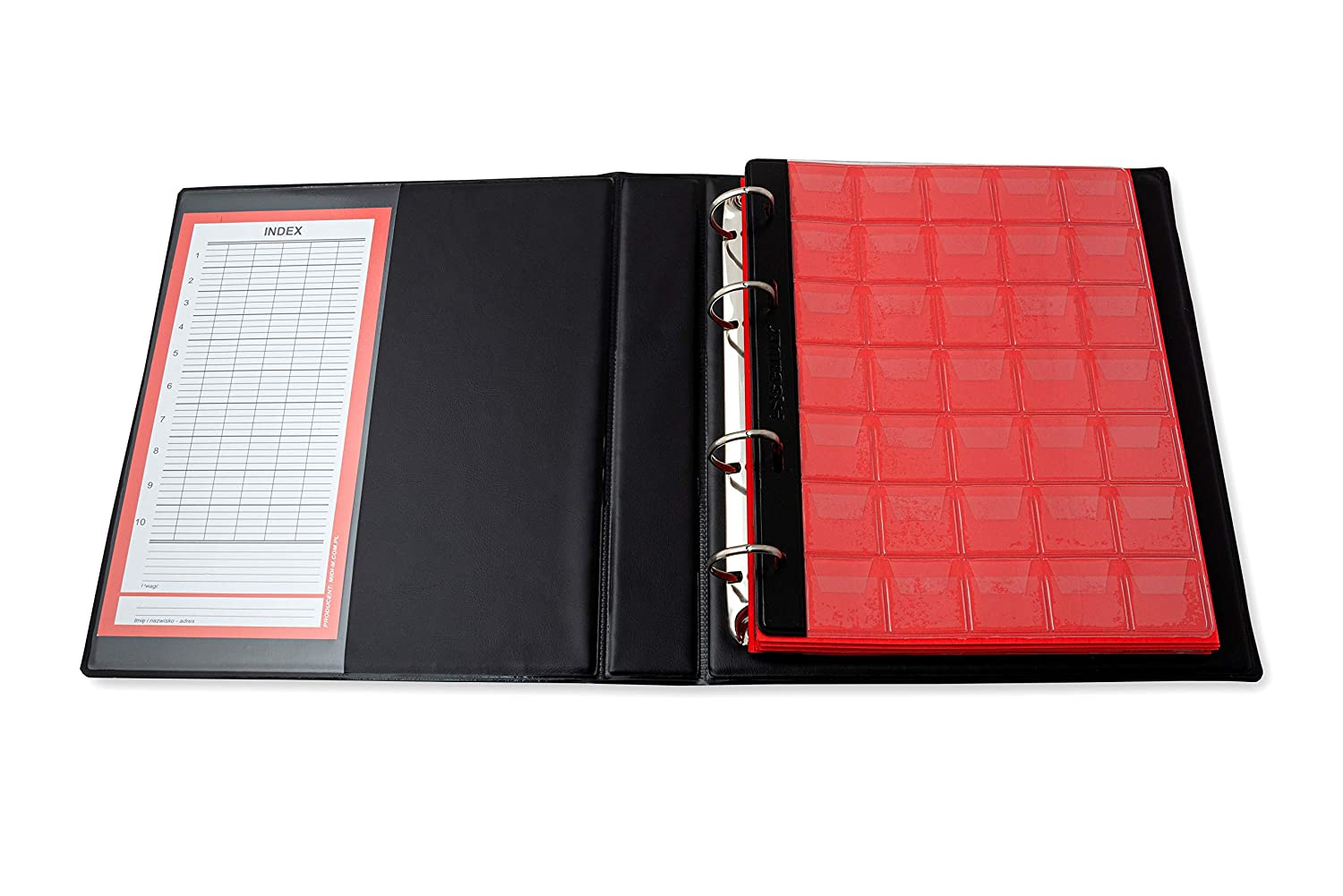 Index Schulz Coin Album Coin Album with 10 Coin Covers for 350 Pieces Various Coin Sizes with Pages and Red Dividers Red