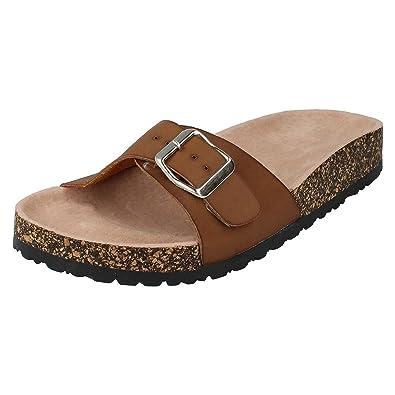 f4da51207e4d Spot On Womens Ladies Low Buckle Mule Sandals  Amazon.co.uk  Shoes   Bags
