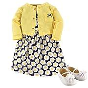 Hudson Baby Baby Girls' 3 Piece Dress, Cardigan, Shoe Set, Daisies, 0-3 Months (3M)