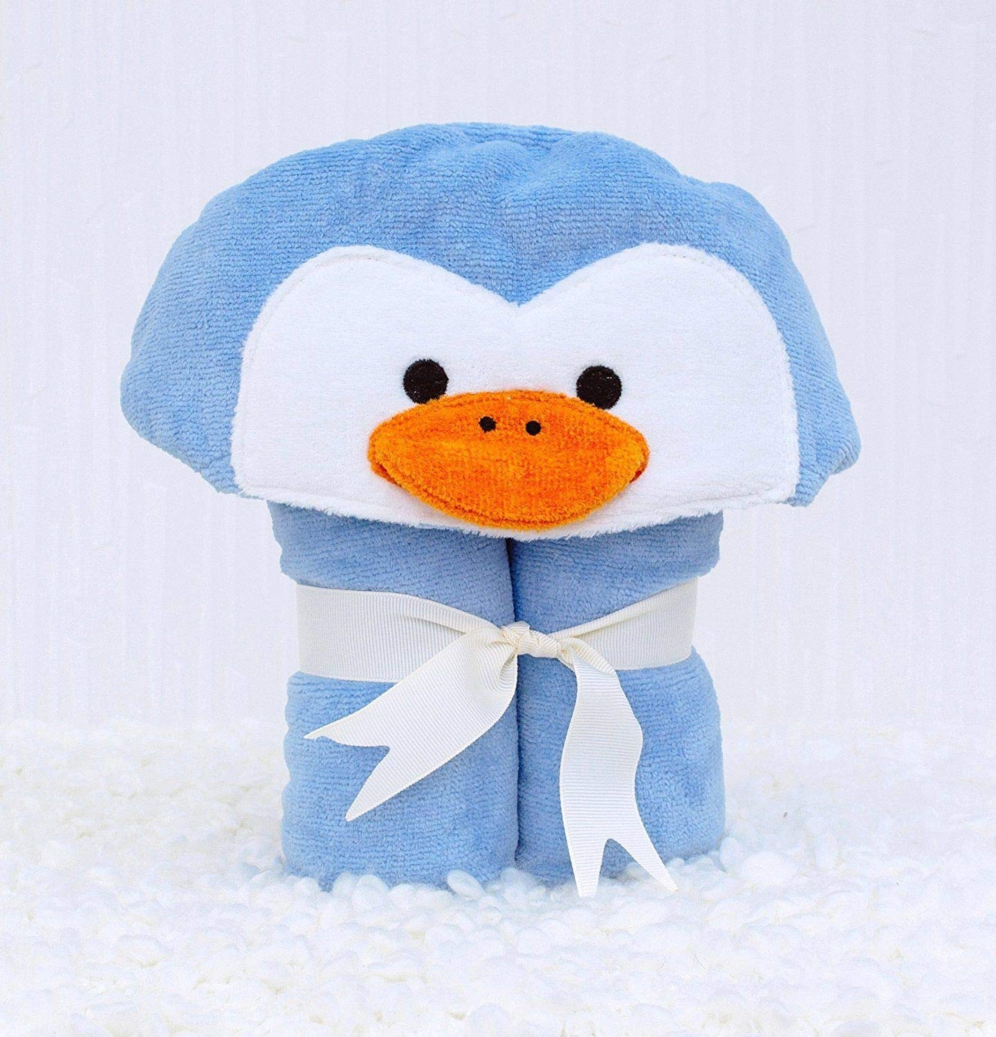 Amazon.com: Bathing Bunnies Penguin Baby Hooded Towel Sky Blue: Home & Kitchen