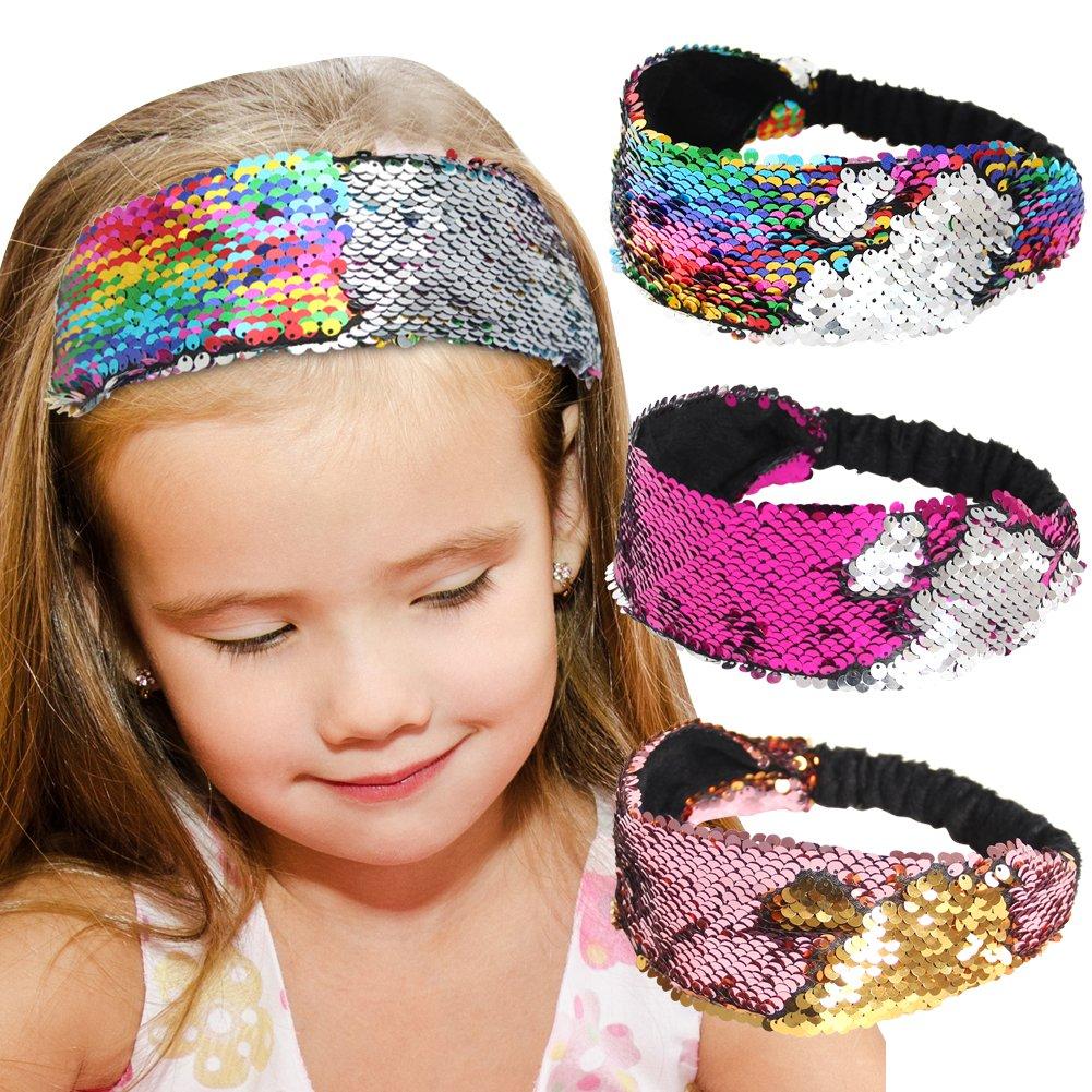 Sequin Headbands, Beinou Mermaid Reversible Sequins Headband Elastic Stretch Sparkly Glitter Fashion Headbands - Non Slip Velvet Lined Sports Fitness Head Band for Girls and Women Pack of 3 Nancyus005 JR107