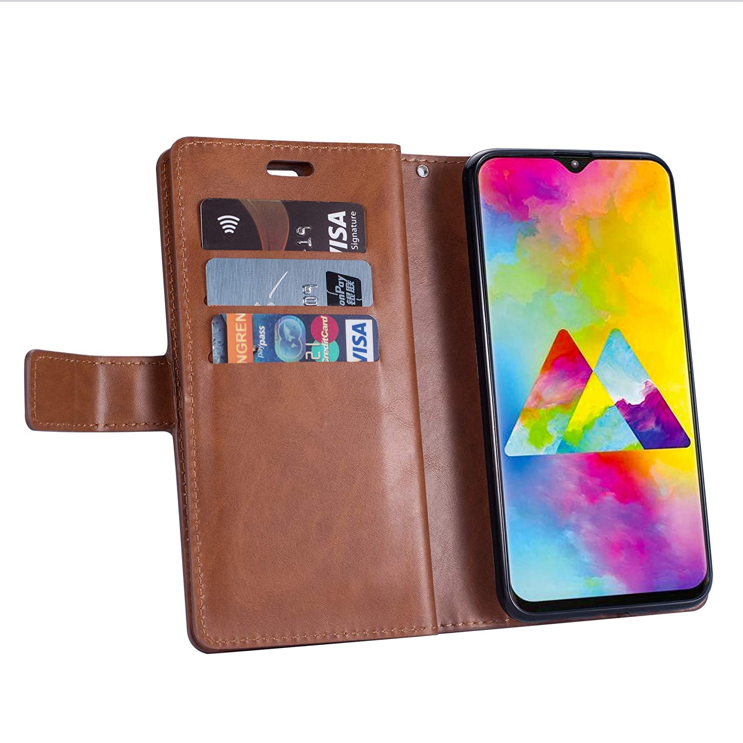 JAWSEU Case Flip Compatible with Samsung Galaxy A20e Wallet Case Premium PU Leather Folio Front and Back Full Body Stand Cover Inner Soft TPU Silicone with Card Slots Magnetic Closure Case,Brown
