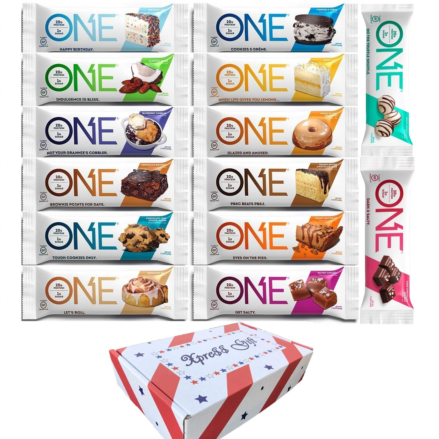 OhYeah One Protein Bars Variety - All Variety (Pack of 14), New Flavors included, Best Tasting Gluten Free Bars 2.12 Oz each, Comes in XPRESSGIFT Box