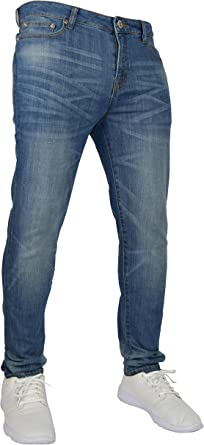 Pantalones Vaqueros Elasticos Para Hombre Ajustados Ajustados Ajustados Elasticos 98 Algodon Y 2 Elasticos Cintura 28 40 Amazon Es Ropa Y Accesorios