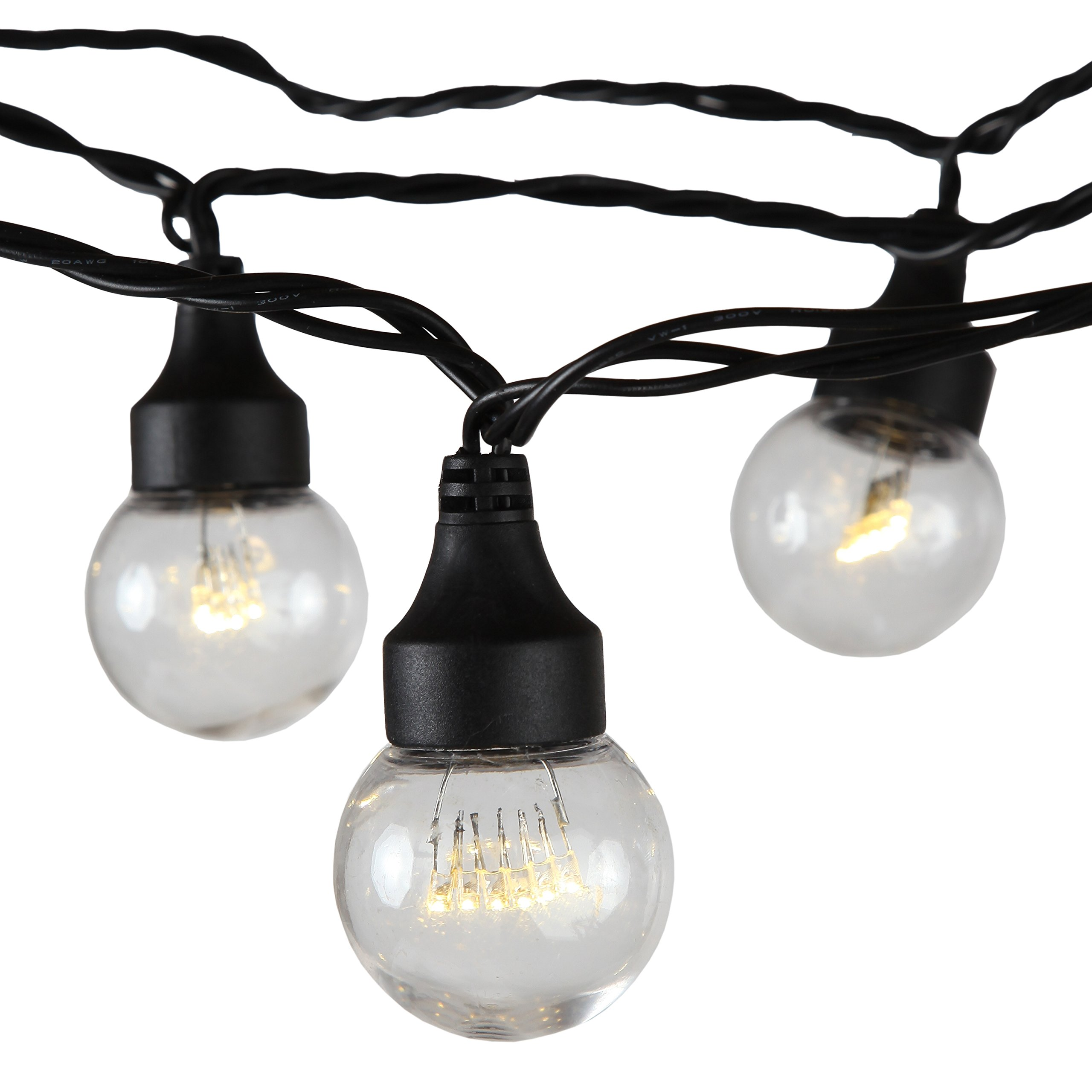 Brightech - Ambience LED - Warm White LED G45 Indoor / Outdoor String Light Set with 15 Energy-Saving Bulbs made of Durable Plastic - LEDs Mimic the Bewitching Feel of Edison-style Incandescent Lights