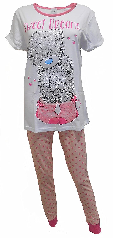 Ladies 100% Official Merchandise 100% Cotton Short Sleeved Round Neck 2 Piece PJ Pyjama Set, Tatty Teddy