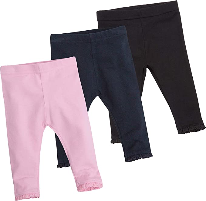 BABY TOWN Baby Girls Leggings With Lace Trim Detail Available From Newborn