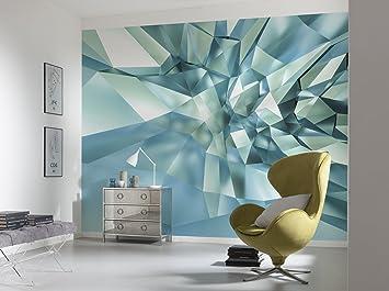 Tapete Papier Fototapete Abstraktion blaues Licht Streifen Modernes Design