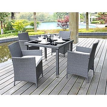 5 piezas al aire libre Patio juego de mesa y sillas de comedor con ...