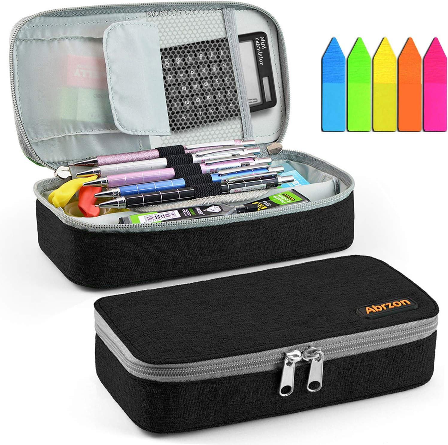 Pencil Case, Abrzon Big Capacity Pen Case Desk Organizer with Zipper for School & Office Supplies - 8.74x4.3x2.17 inches, Black