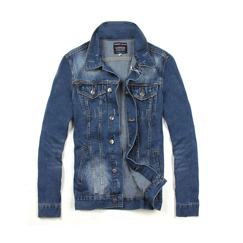 Linyuan Fashion Look Mens Washed Classic Blue Denim Jeans Jacket Men's Casual Jean Coat
