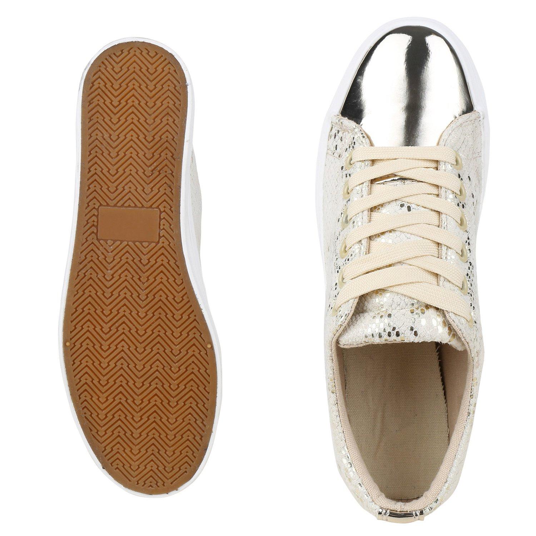 schuhe VITA Gold Damen Plateau Sneaker Glitzer Gold VITA Metallic 2398f6