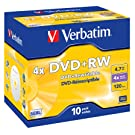Verbatim 43246 4x DVD+RW - Jewel Case 10 Pack