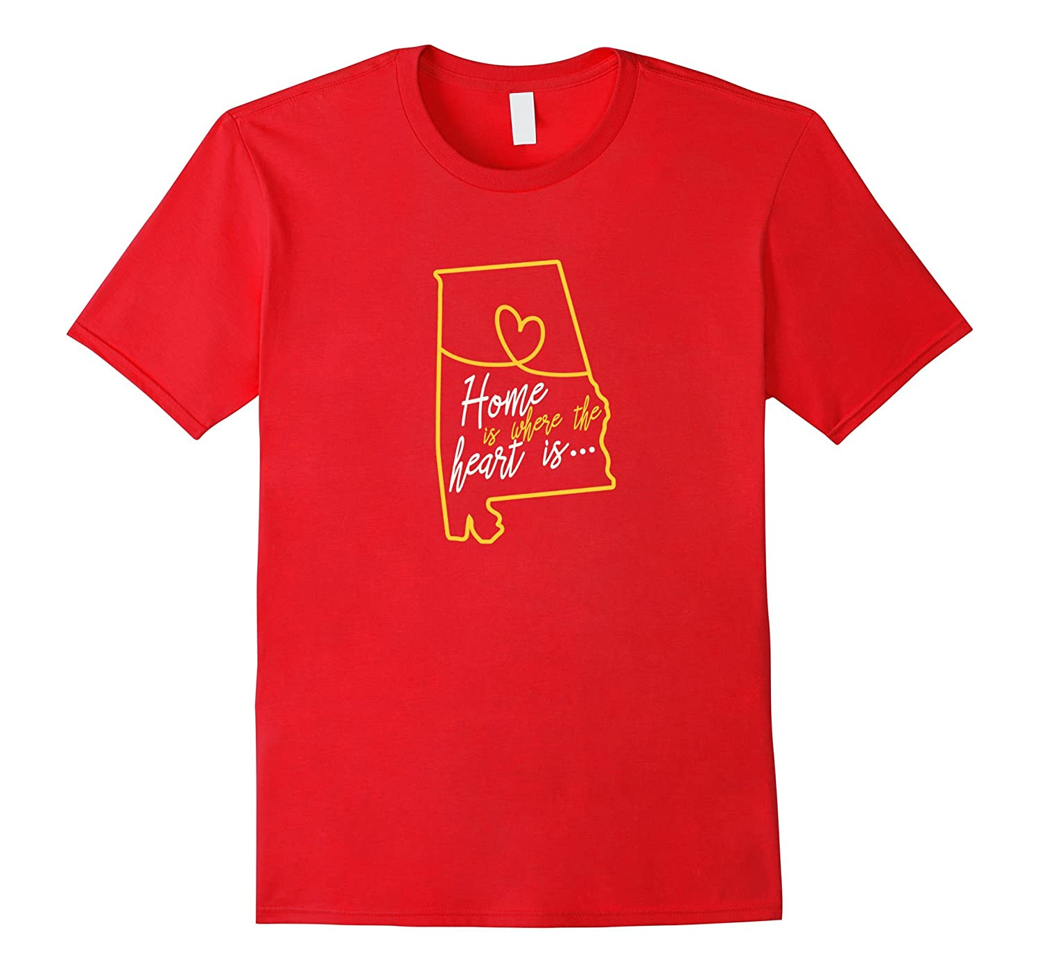 Alabama Home Is Where The Heart Is T-shirt Alabama Map-Teehay