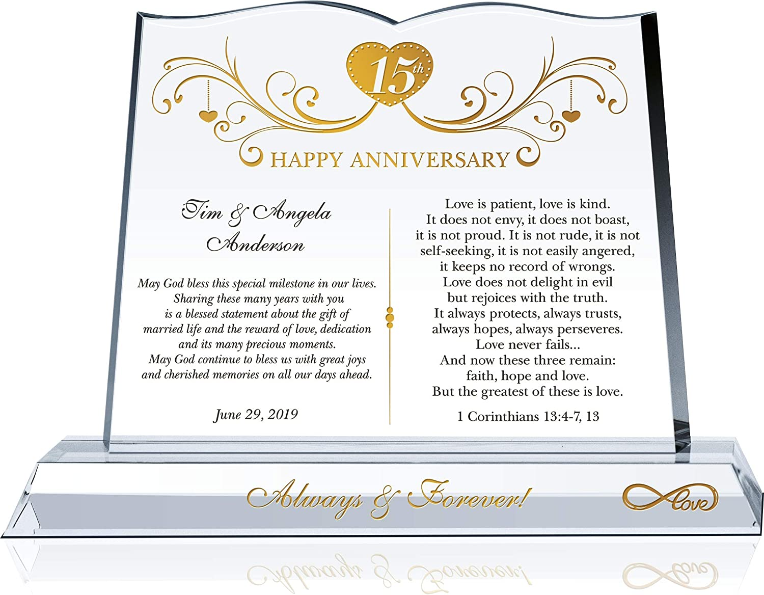 Amazon Com Personalized Infinity Love Crystal 15th Wedding Anniversary Gift Plaque For Wife For Husband Customized With Couple S Name Unique 15th Anniversary Gift For Him For Her For Spouse M 10 Home