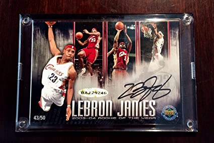 8948e404b622 LeBron James ROOKIE OF THE YEAR autographed Ltd. Ed. RC Card (Jersey ...