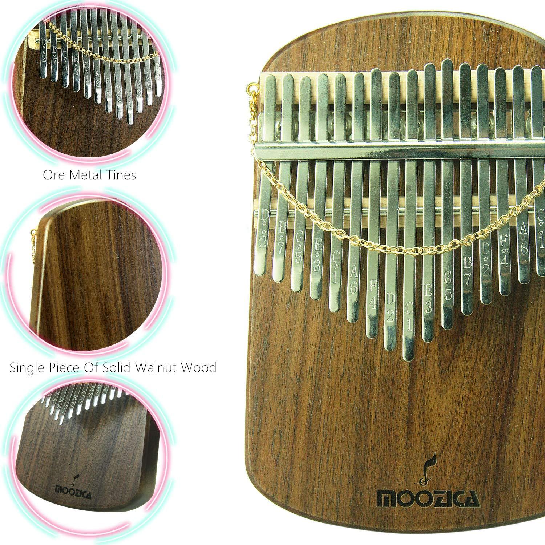 Moozica Kalimba 17 Keys Solid Walnut Wood Kalimba, Solid Walnut Wood Single Board Thumb Piano Marimba with Learning Instruction(K17S-W) by Moozica (Image #4)