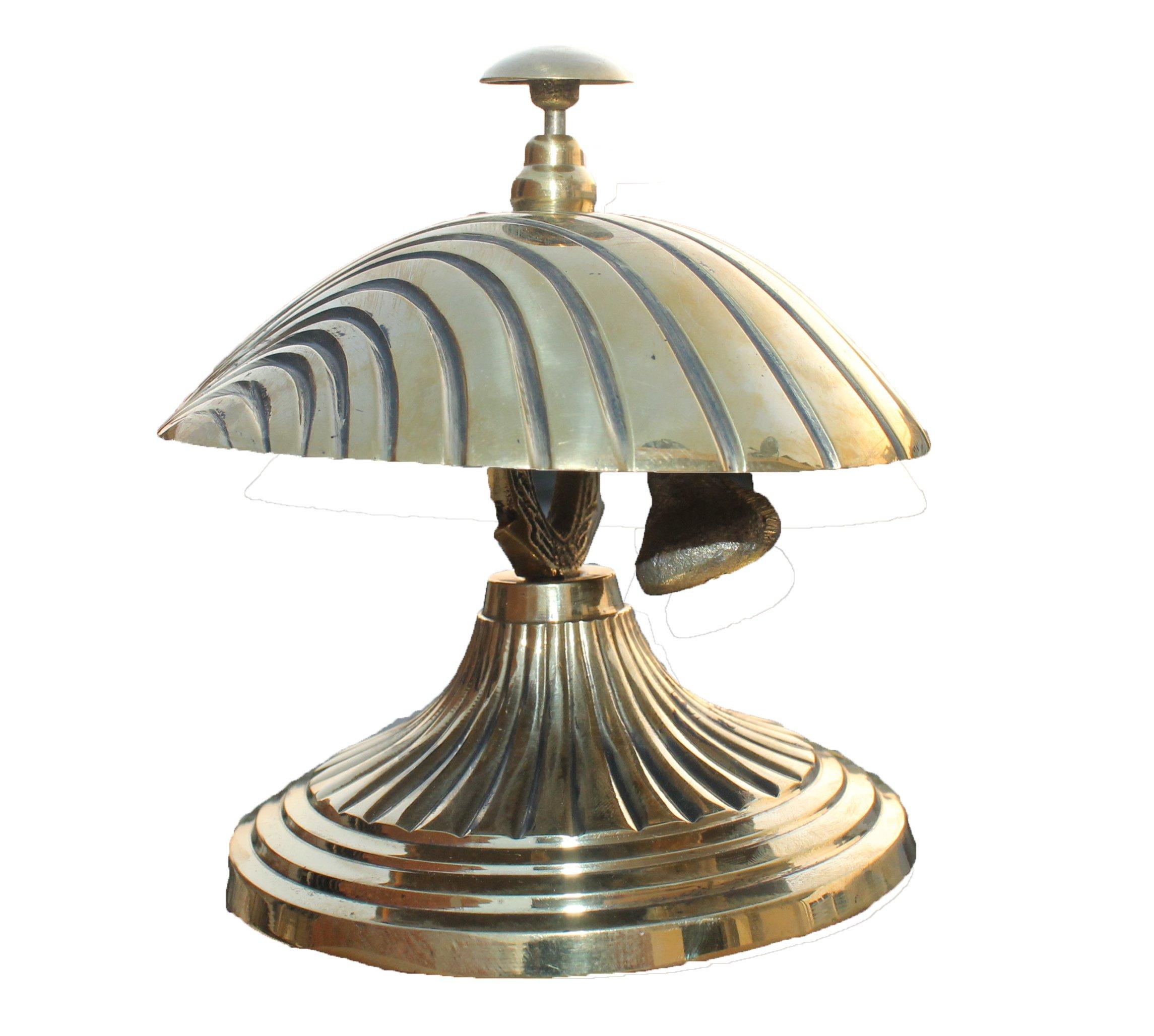 PARIJAT HANDICRAFT Handcrafted Solid Brass Hotel Counter Bell, Officer call bell Ornate Brass Shell Design Bell Desk Bell Service Bell for Hotels, Schools, Restaurants, Reception Areas.