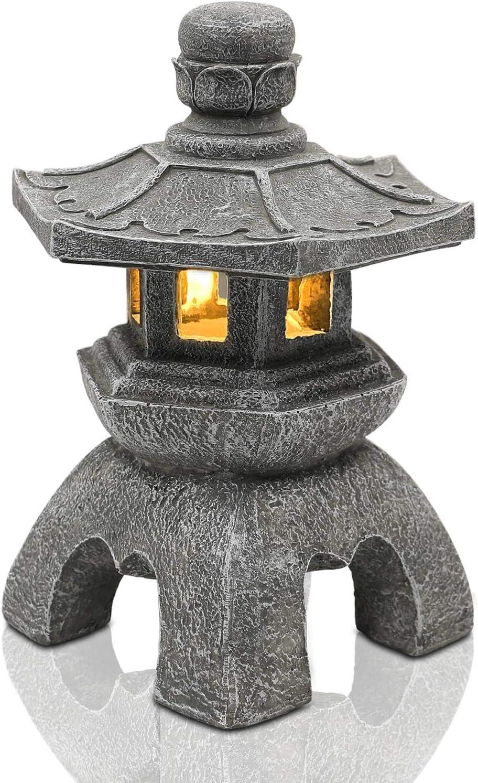 Nacome Solar Pagoda Lantern Garden Statue,Indoor/Outdoor Zen Asian Decor for Landscape Balcony,Garden,Patio,Porch Yard Art Ornament,Polyresin,Gray Stone Finish