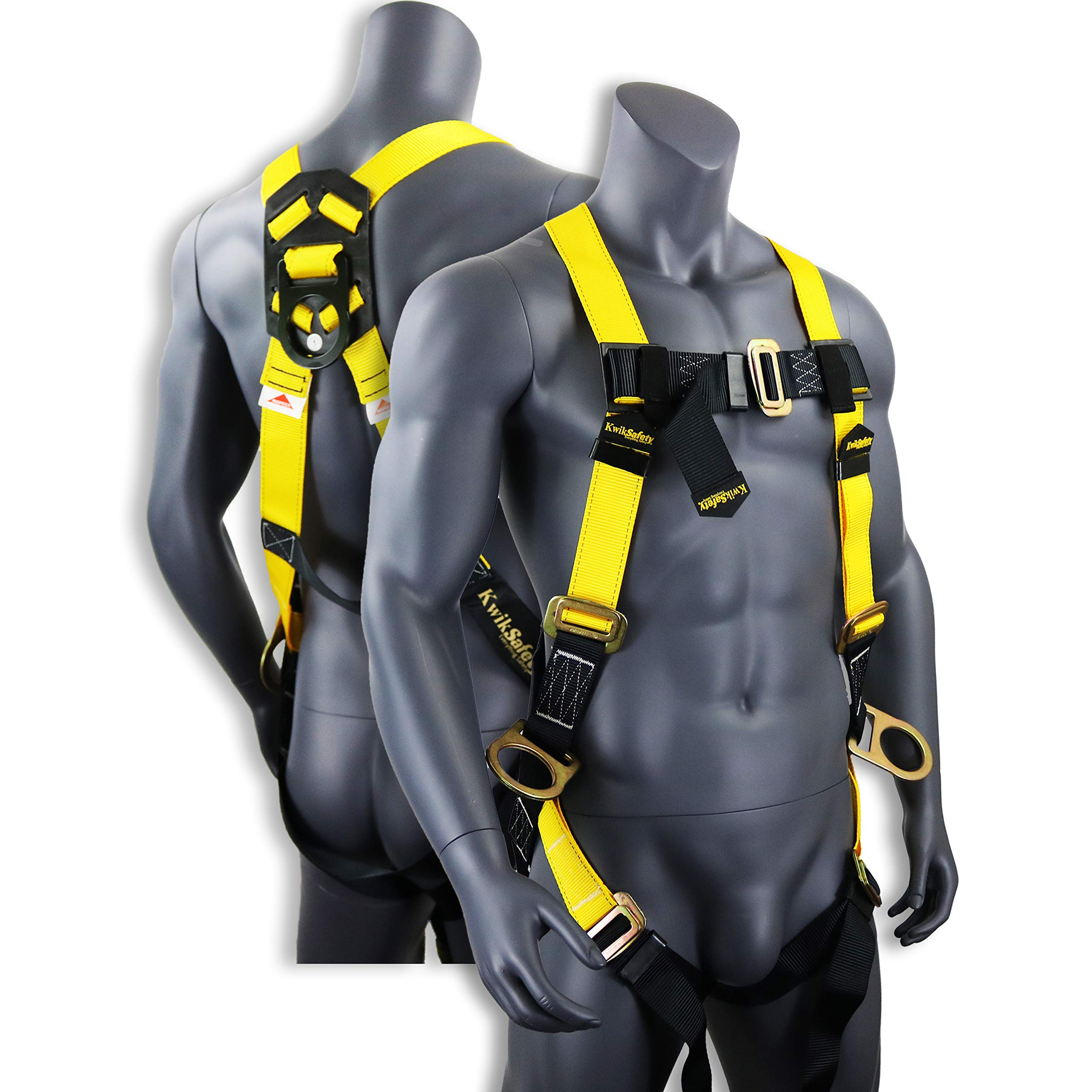 KwikSafety THUNDER | Safety Harness | ANSI OSHA Full Body Personal Fall Protection|1 Dorsal Ring 2 Side D-Rings & Pass Through Buckle Straps | Universal Construction Industrial Tower Roofing Tool by KwikSafety