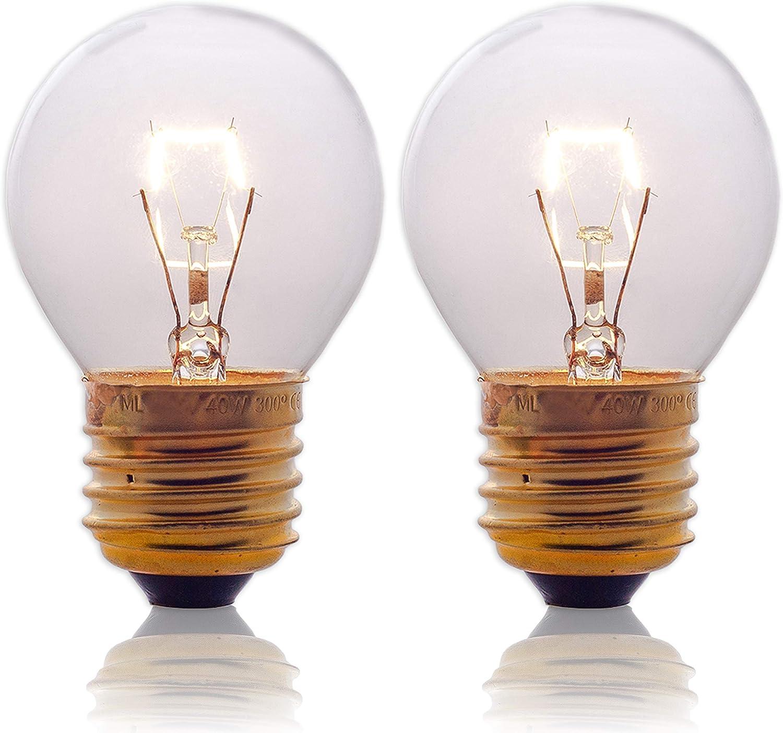 Oven Light Bulbs – 40 Watt Appliance Replacement Bulbs for Oven, Stove, Refrigerator, Microwave. Incandescent - High Temp G45 E26/E27 Socket. Medium Brass Lead-Free Base - 400 Lumens - Clear. 2 Pack