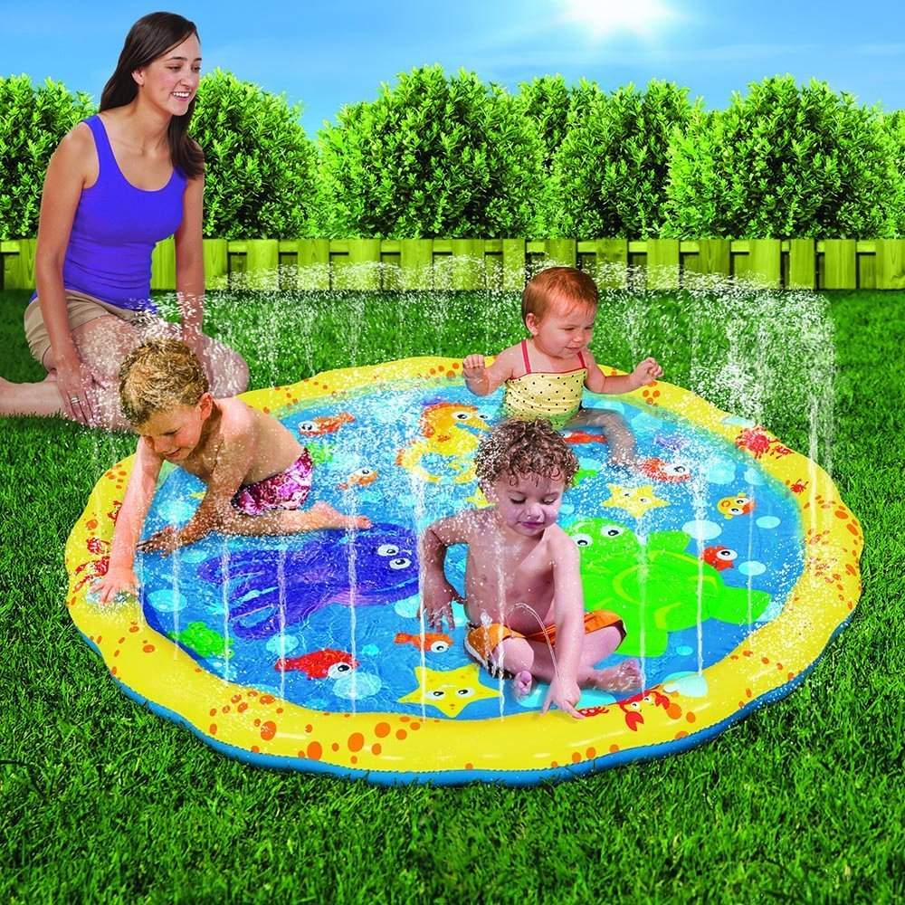 Amazon.com: Banzai 54in Diameter Sprinkle And Splash Play Mat: Toys U0026 Games