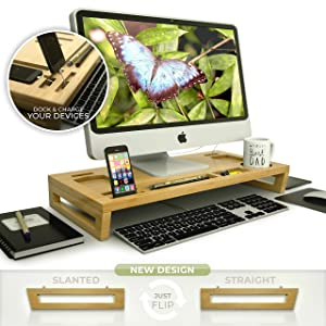 Stellar Natural Bamboo Laptop/Computer Monitor Stand | Office Desk Organizer | Portable Design | Magnetic Assembly | 2 Leg Styles | Cable & Heat Management | Connect & Charge Devices | Eco-Friendly