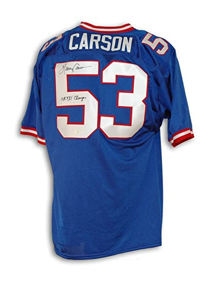 244c6703c Harry Carson New York Giants Autographed Blue Throwback Jersey Inscribed   quot SB XXI Champs quot