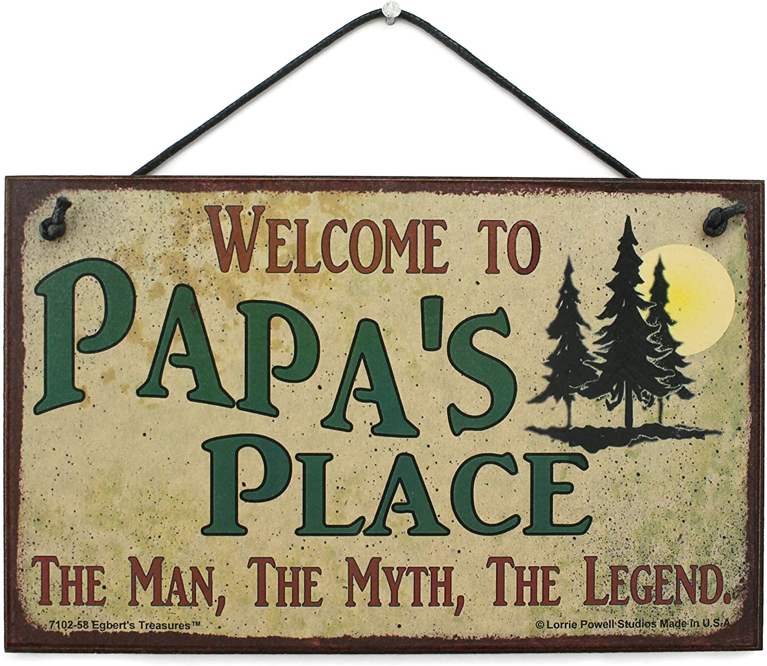 Egbert's Treasures 5x8 Vintage Style Sign with Pine Trees Saying Welcome to Papa's Place The Man, The Myth, The Legend. Decorative Fun Universal Household Family Signs for Grandpa (5x8)