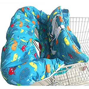 Shopping Cart Cover for Baby- 2-in-1 - Foldable Portable Seat with Bag for Infant to Toddler - Compatible with Grocery Cart Seat and High Chair - Blue Sea World Pattern