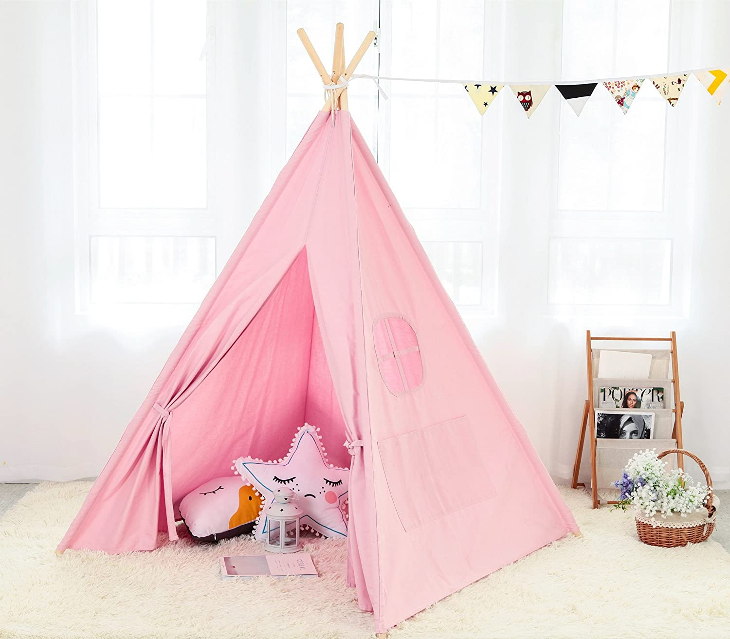 Steegic Outdoor and Indoor Great Canvas Indian Teepee Playhouse for Kids, Pink PinkTeepee03