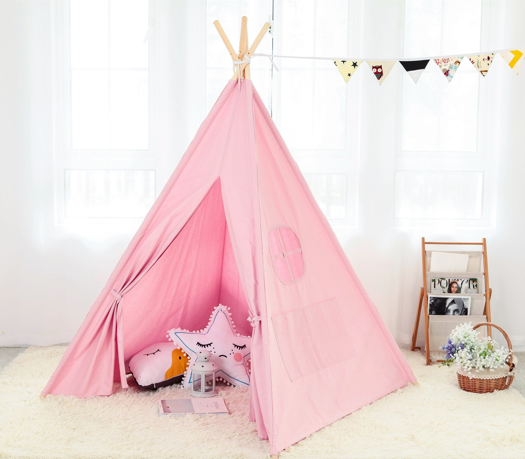 Steegic Outdoor and Indoor Great Canvas Indian Teepee Playhouse for Kids, Pink