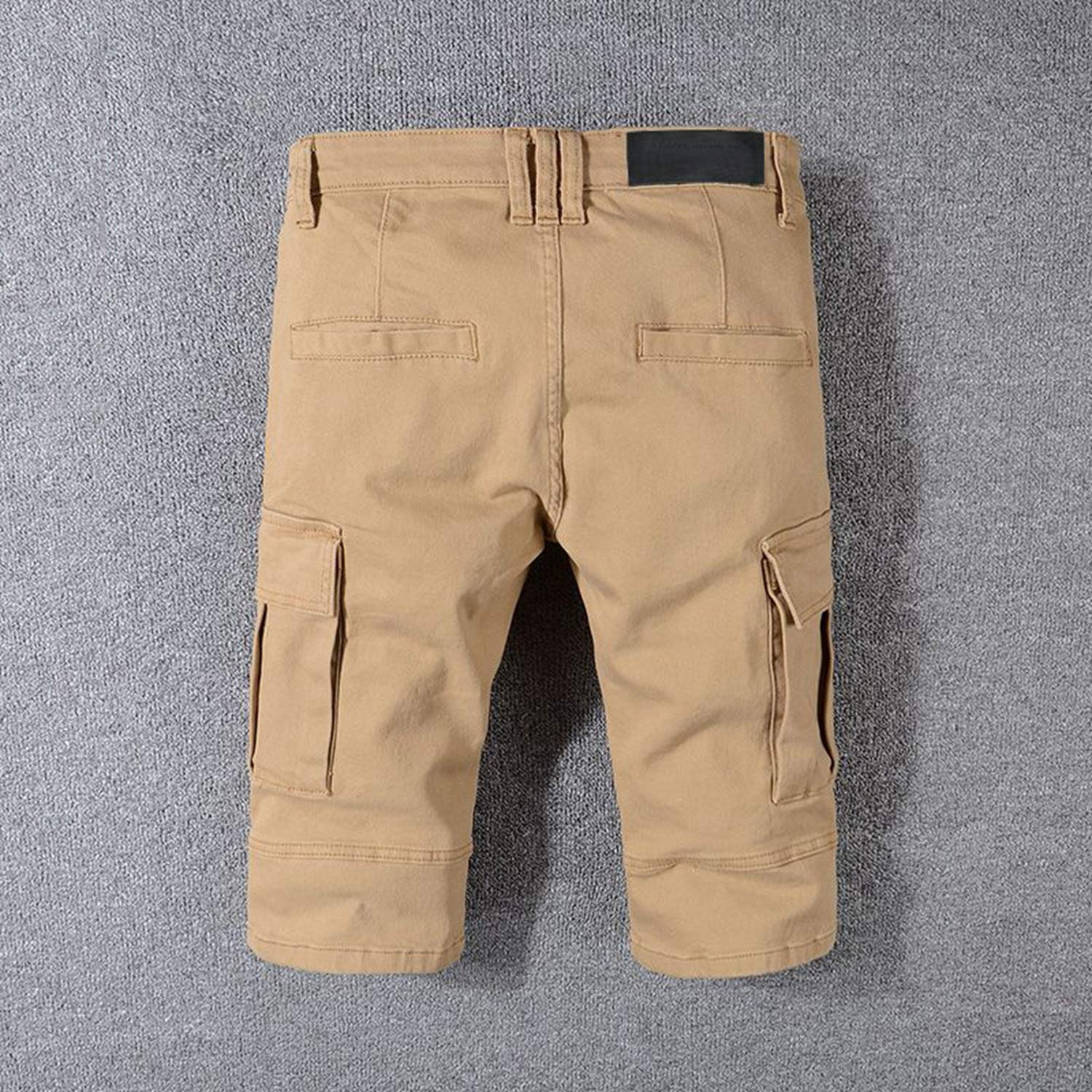 Men Skinny Jeans Shorts Khaki Mens Runway Slim Racer Jean Short Motorcycle Hiphop