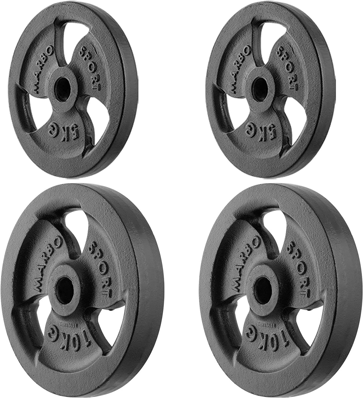 31 mm 60 kg Marbo Sport Juego de Pesas de Placa de Pesas de Hierro Fundido Tri-Grip /ø30 Establecer Opciones de 29 kg 30 kg