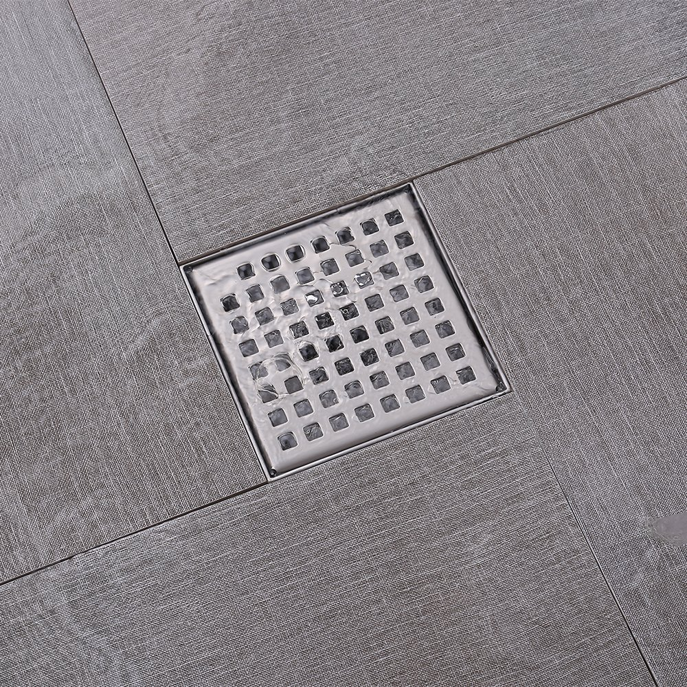 KES Square Shower Floor Drain with Removable Grate Strainer SUS 304 Stainless Steel Bathroom Drainer RUSTPROOF Brushed Finish, V255S14 by Kes (Image #3)