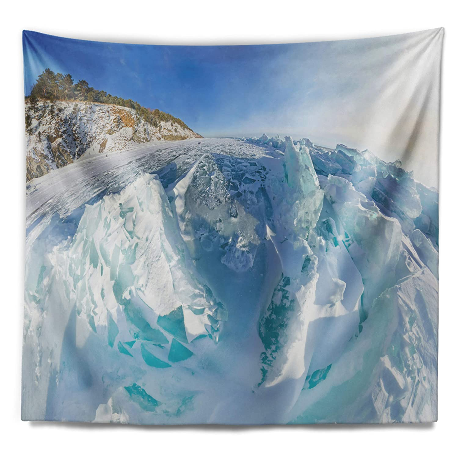 x 68 in Designart TAP11738-80-68 Blue Ice Mountains in Lake Baikal Siberia Landscape Blanket D/écor Art for Home and Office Wall Tapestry 80 in x Large