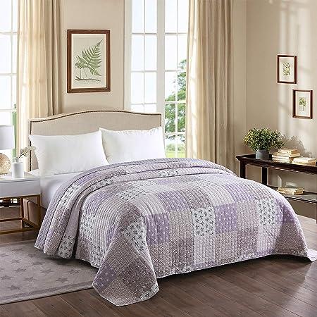 HOLISTAR 0180020, Tagesdecke Steppdecke Bettüberwurf Patchwork Wendedesign Bettdecke Stepp Decke Doppelbett unterfüttert und