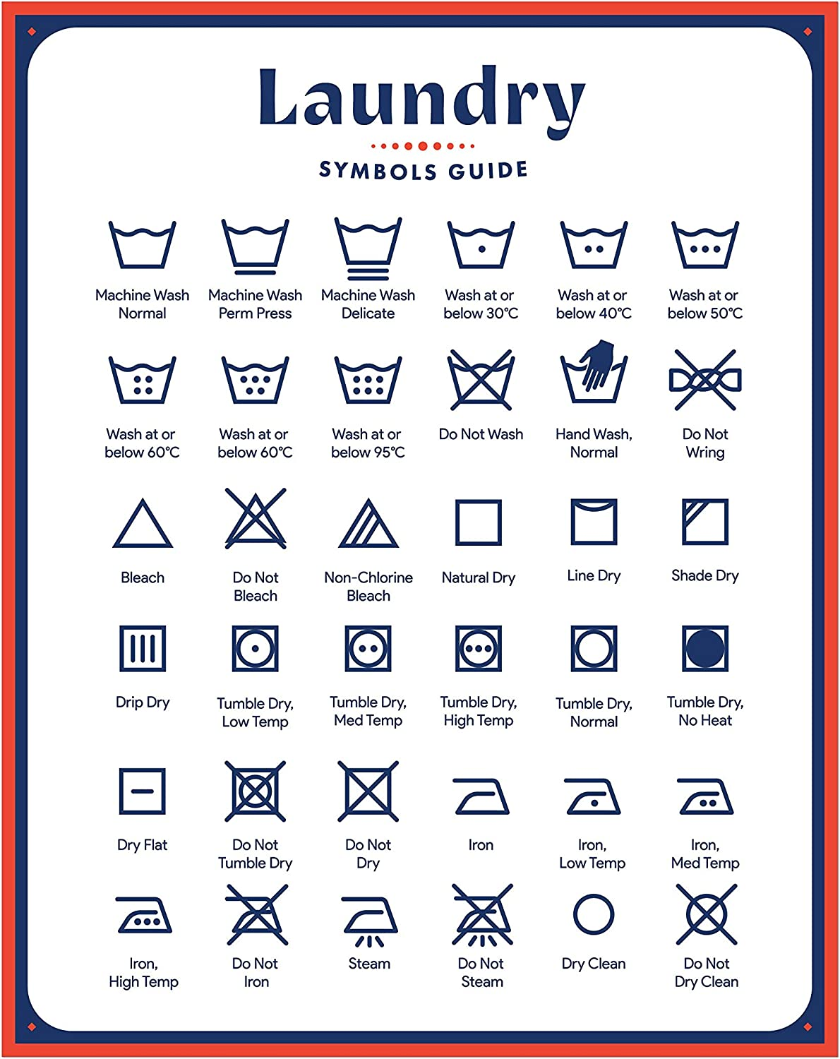 Jot & Mark Laundry Symbols Magnet Guide