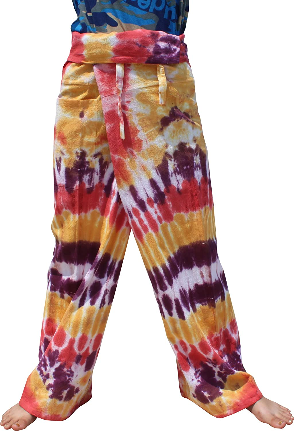 Raan Pah Muang Thick Muang Cotton Thai Fishermans Pants Vibrant TieDyed Tie Dye variant15190AMZ