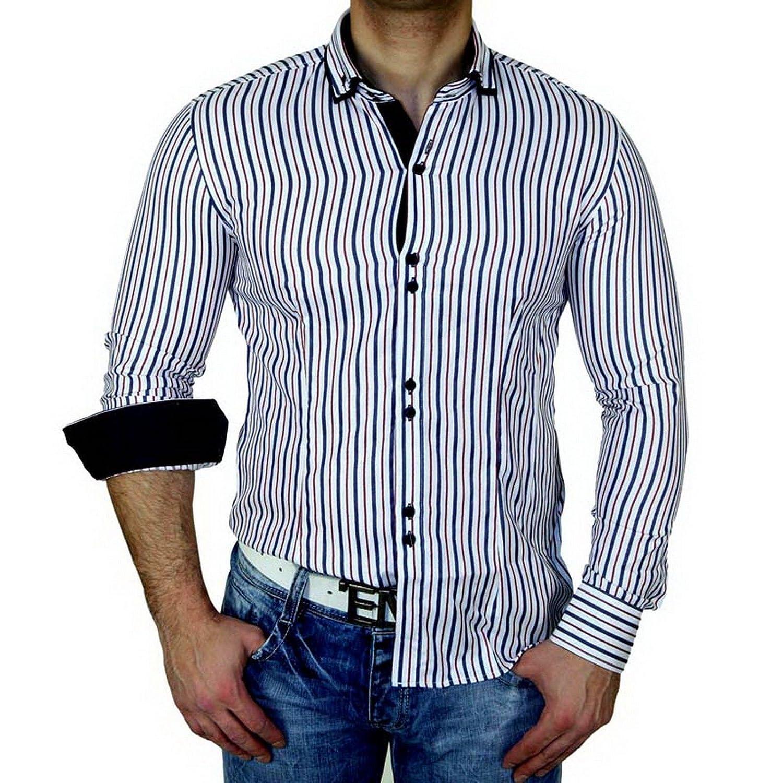 Zioss Slim Fit Doppio Colletto Contrasto Manica Lunga Uomo Camicia Blu//Bianco 1127