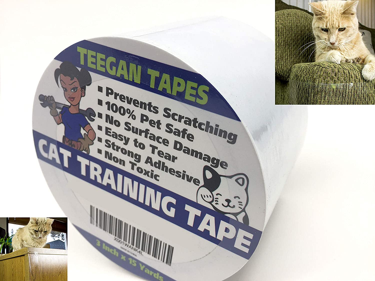 Cat Training Tape - Prevent Scratching | Clear Double Sided Tape | Furniture Protector & Scratch Deterrent | Sticky Double Sided Pet Repellant | Safe for Wood Furniture, Leather Sofas & Couches