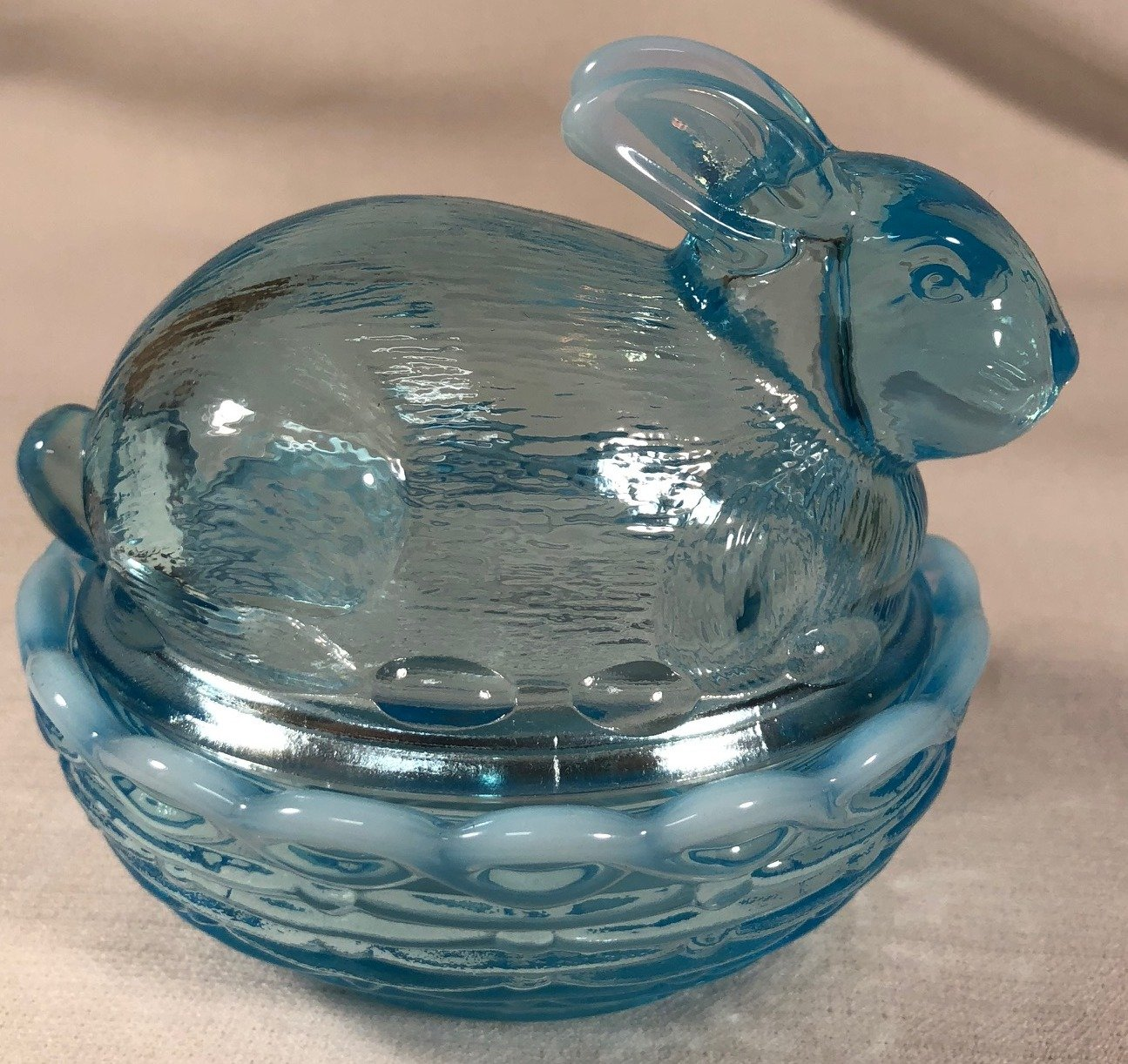 Glass Easter Bunny Rabbit on Covered Dish Mosser Glass (Blue Opalescent)