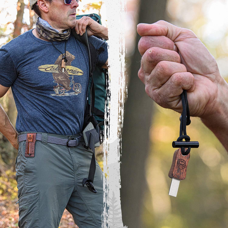 Holtzmans Gorilla Survival Fire Starter Gift Set Emergency Ferro Rod Kit W//Leather Sheath