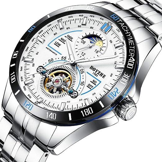 Relojes mecánicos automáticos Deportivos de Lujo para Hombres de BOYZHE. Reloj de Cuero Impermeable de Acero Inoxidable Brillante.: Amazon.es: Relojes