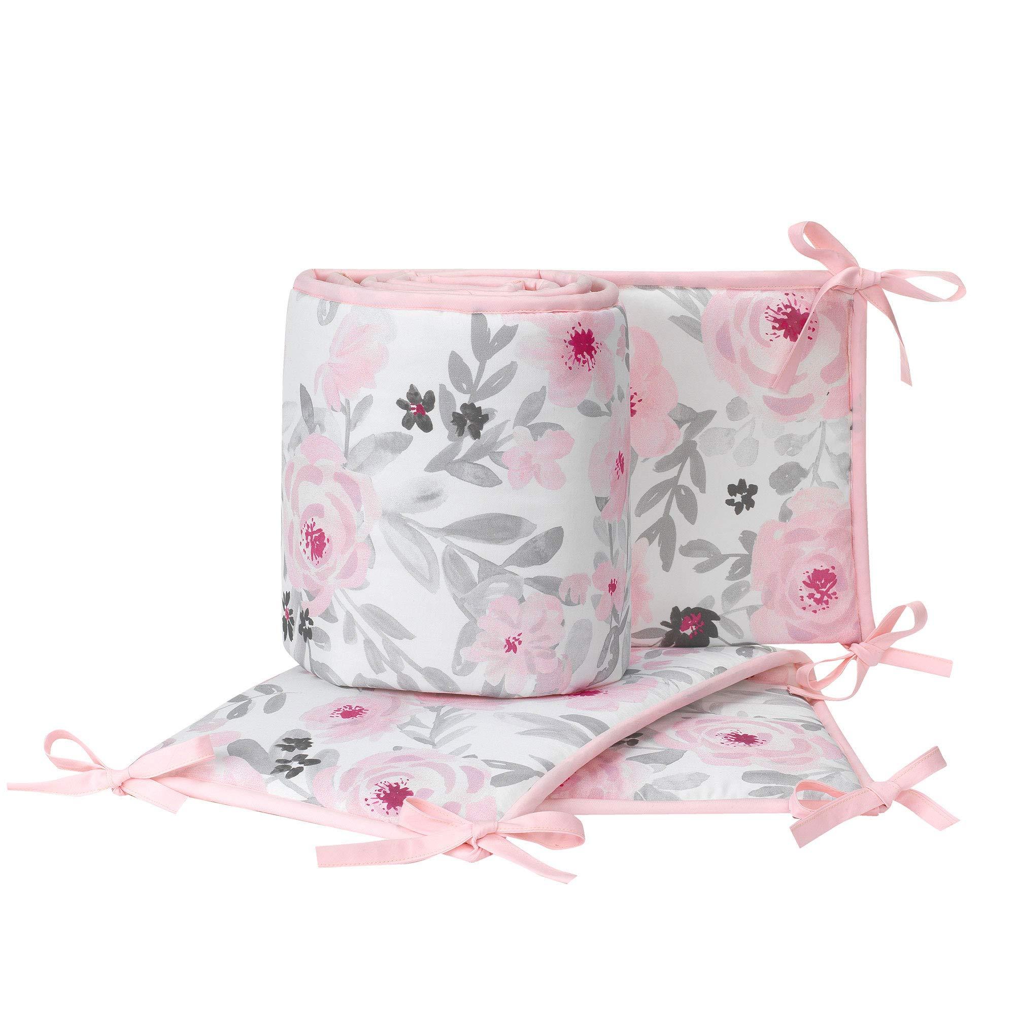Bedtime Originals Blossom Pink/Gray Watercolor Floral 4-Piece Crib Bumper by Bedtime Originals