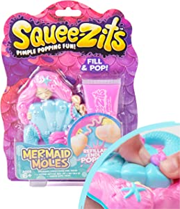 SqueeZits Mermaid Moles DIY Pimple Popping Toy by Horizon Group USA, Stress Relief Pimple Popping, Squeeze Acne Refillable Toy, Mermaid, One Size, Multicolor