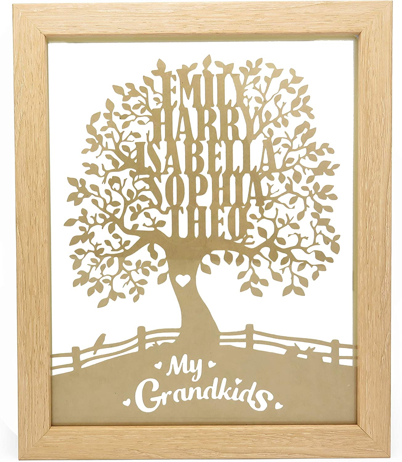 Gift for Couples Personalised Wooden Photo Frame with Papercut Custom Any Names