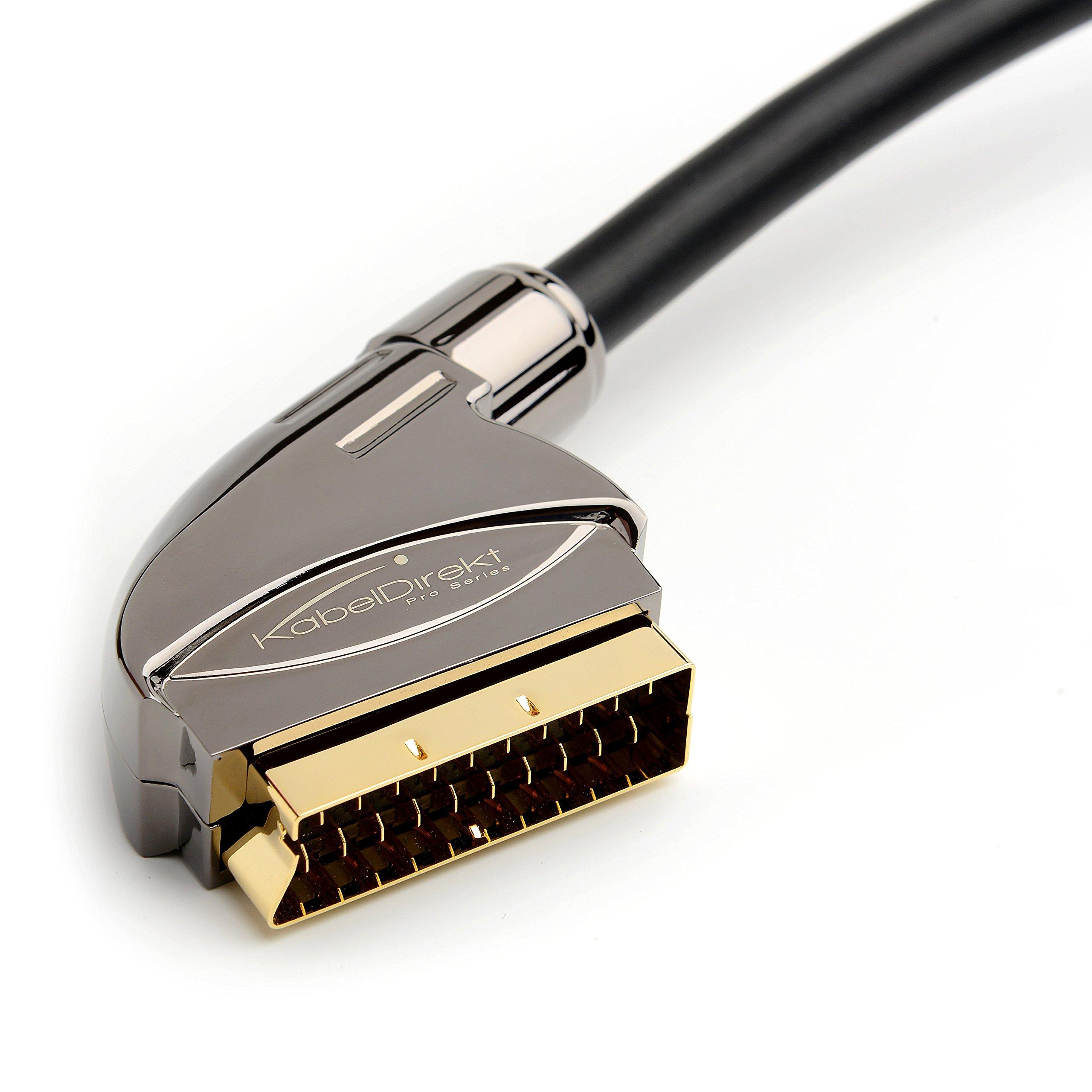 KabelDirekt 6 feet SCART Cable (21-Pin, Multiple Shieldings, Precision Connector, Full HD) - Pro Series by KabelDirekt
